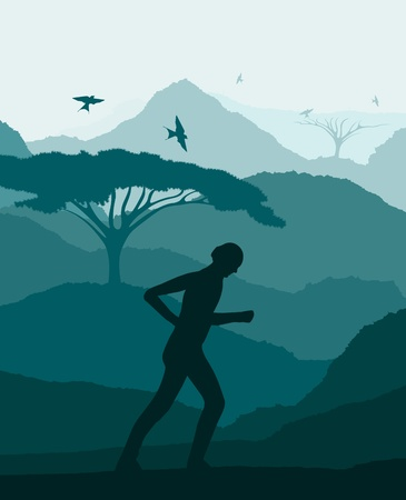 jugglery: Animated healthy women doing exercises in wild africa foliage illustration Illustration