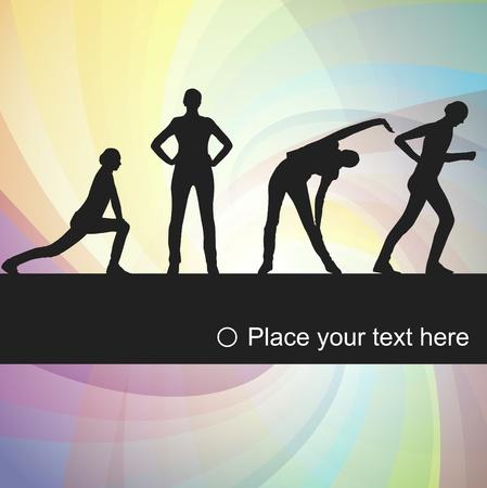 acrobacia: Ilustración de fondo animado mujeres ejercicios gimnásticos Vectores