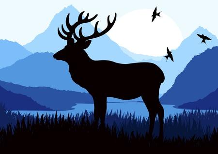 Rain deer family in wild night forest foliage illustration Stock Vector - 10575468