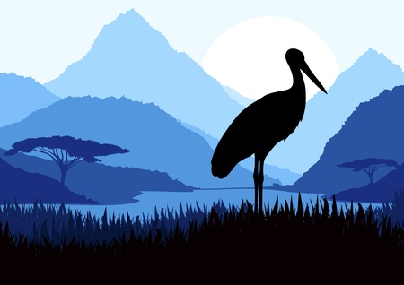 Animated heron vector background Vector
