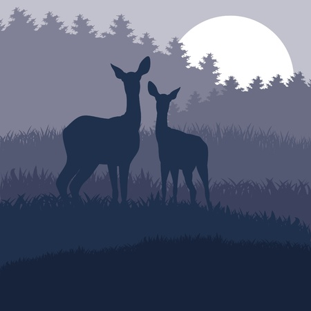 winter garden: Rain deer family in wild night forest foliage illustration Illustration