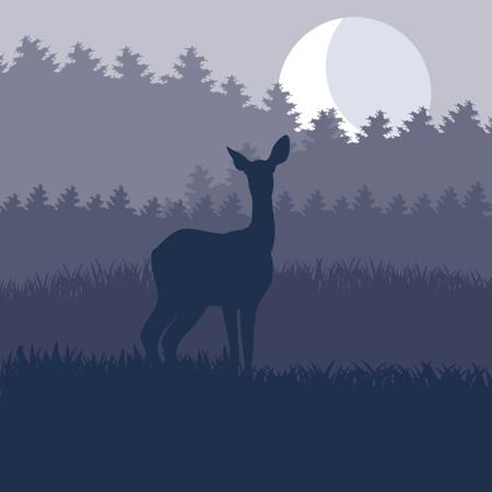 incendio bosco: Pioggia famiglia di cervi selvatici in illustrazione fogliame foresta notte
