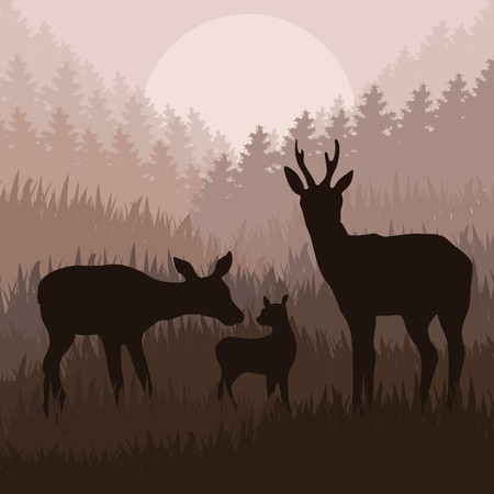 animals horned: Rain deer family in wild night forest foliage illustration Illustration