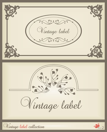 Vintage brown label frame vector background Vector