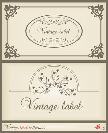 Vintage brown label frame vector background Vector