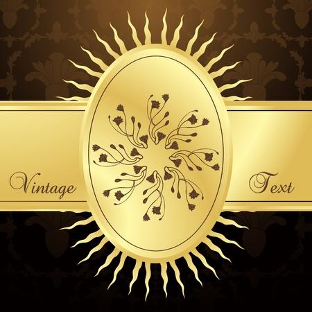 Vintage vector background with golden elements Vector
