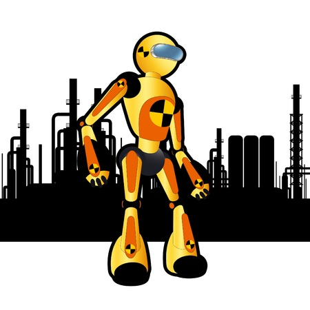 Animated construction site test robot Stock Vector - 10553781