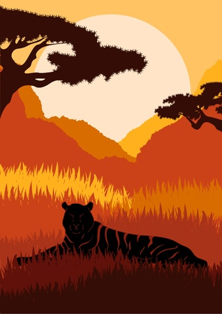 Animated lions in wild african mountains foliage illustration Vector