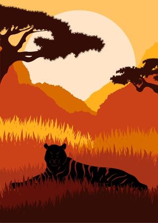 Leones animados en la ilustración de follaje de las montañas africanas salvajes Foto de archivo - 10579003