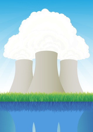 Nuclear power station cooling towers Vector