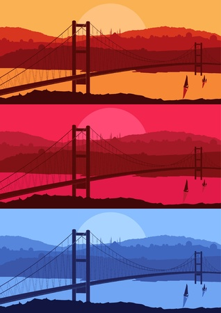 istanbul night: Istanbul cityscape bridge silhouettes vector illustration set