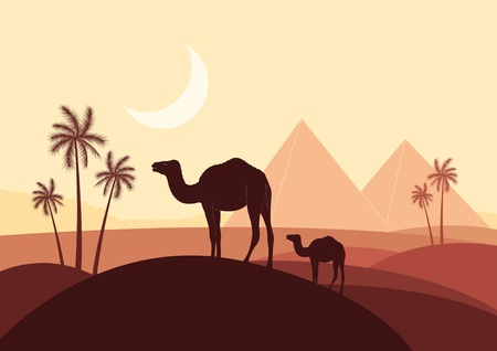 cleopatra: Pyramids and camel caravan in wild africa landscape illustration