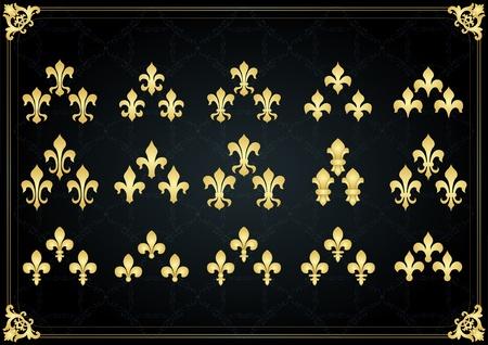 nobleman: Annata d'oro reale lilly elementi illustrazione collezione