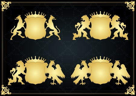 royal family: Vintage golden royal coat of arms illustration