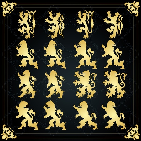 the middle ages: Vintage golden royal animal coat of arms illustration