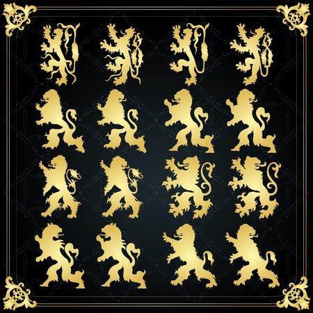 lion dog: Vintage golden royal animal coat of arms illustration