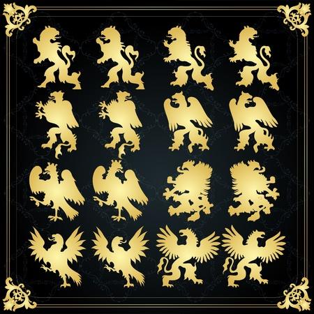 lion dog: Vintage golden royal birds coat of arms illustration Illustration