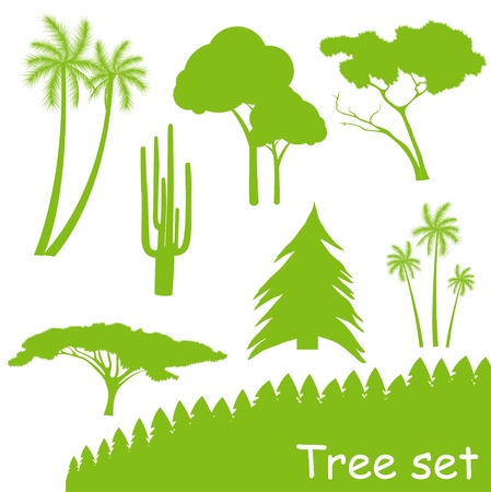 Green ecology tree vector set Vector