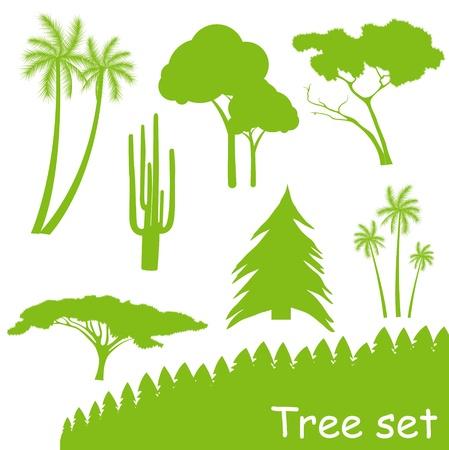 Verde ecologia albero set vettoriale
