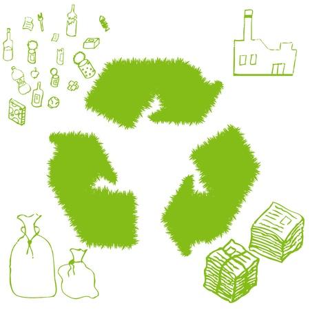 kompost: Recycle garbage Runde Vektor-Hintergrund Illustration