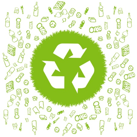 Recycle garbage round vector background Vector