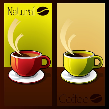 lively: Natural coffee cup background illustration