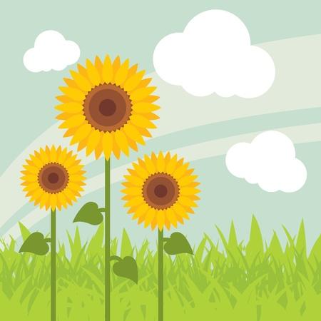 Yellow sunflowers landscape background illustration Vector