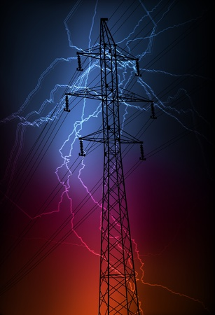 high voltage: High voltage tower and line background vector