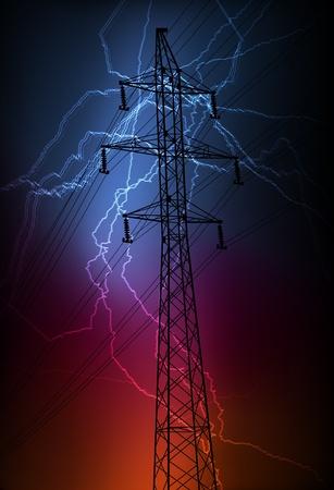 Torre de alta tensión y el vector de antecedentes de línea Ilustración de vector