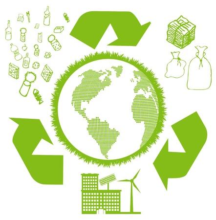 plastic: Recycleren vuilnis ronde vector achtergrond Stock Illustratie