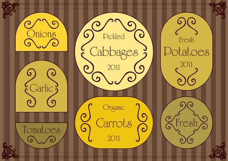 Vintage labels illustration collection vector set Stock Vector - 10803623