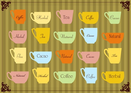 Vintage labels cups illustration collection vector set Vector