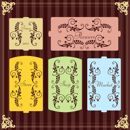 goat cheese: Vintage label set vector background