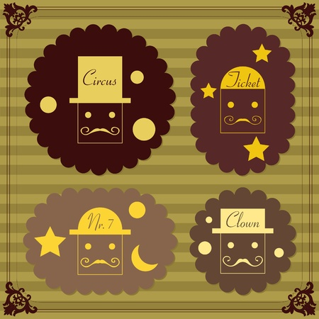 Cute vintage circus clowns tickets illustration collection Vector