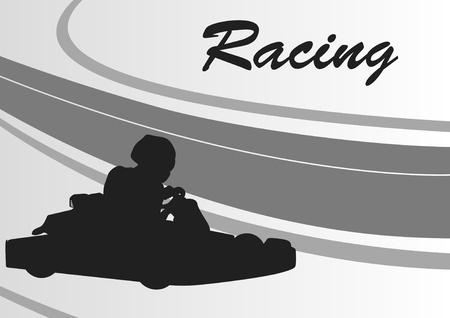 chauffeurs: Aller panier de course les pilotes suivre fond de paysage illustration