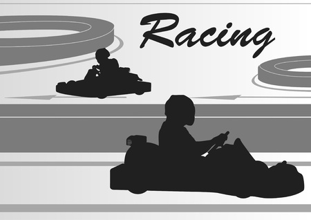 adrenalina: Ir carrito conductores pista de carreras paisaje de fondo ilustraci�n Vectores