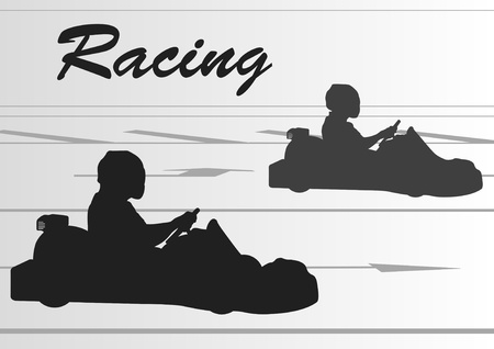 kart: Go cart drivers race track landscape background illustration