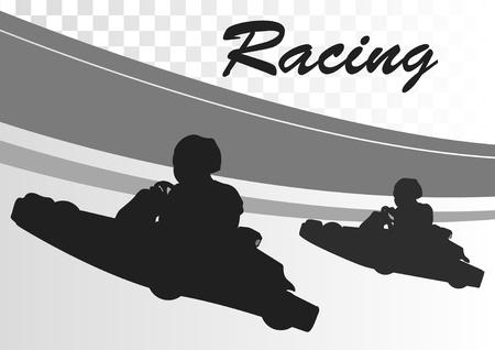 chauffeurs: Aller panier course pilotes piste de fond du paysage illustration