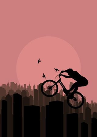 cliff jumping: Mountain bike trial rider in skyscraper city landscape illustration Illustration