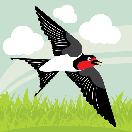 Flying swallow in country side landscape background illustration