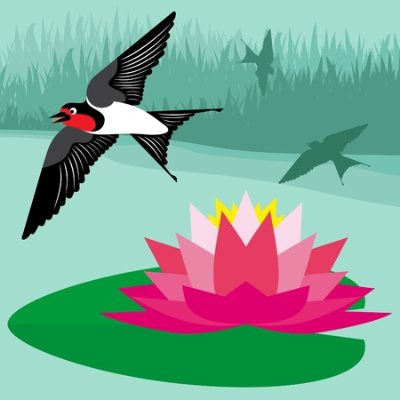 weary: Flying swallow in country side landscape background illustration