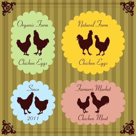 Farm chickens egg and meat labels illustration collection