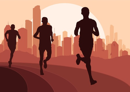 Marathon runners in urban city landscape background illustration Illustration
