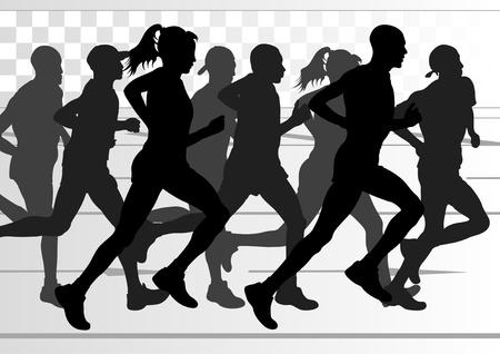 Marathon runners in urban city landscape background illustration Illustration