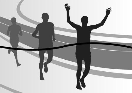 Marathon runners in urban city landscape background illustration Stock Vector - 10803599
