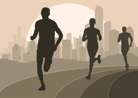 maraton: Corredores de marat�n en la ilustraci�n de fondo urbano de la ciudad paisaje