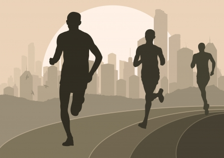 female athletes: Marathon runners in urban city landscape background illustration Illustration