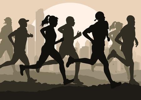 road runner: Marathon runners in urban city landscape background illustration Illustration