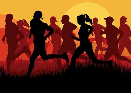 maraton: Los corredores de marat�n en el paisaje urbano de fondo ilustraci�n