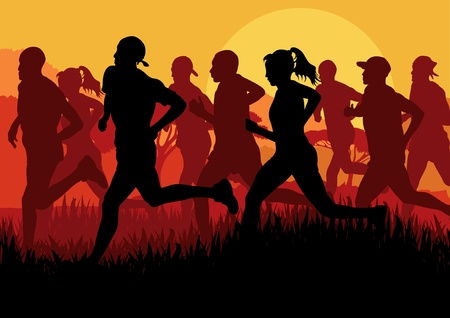 group fitness: Marathon runners in urban city landscape background illustration Illustration
